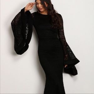 Black long prom lace dress ( Bell Sleeve)